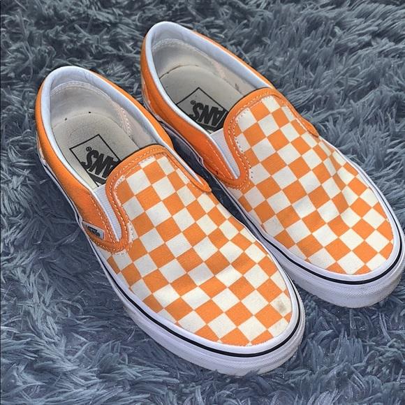 Vans Shoes | Orange Checkered Vans Size